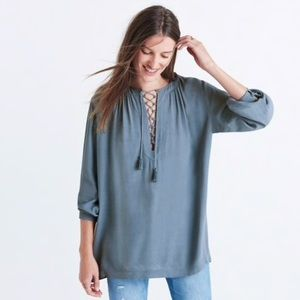 Madewell Lace Up Peasant Blouse Gray Blue Large